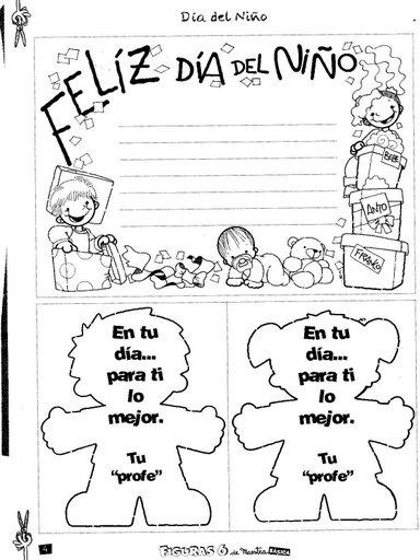 """Imagenes para colorear de """"Dia del Niño""""   Mi Maestra de Primaria"""